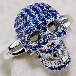 Genuine Sapphire Skull Ring ~ Sterling Silver 925
